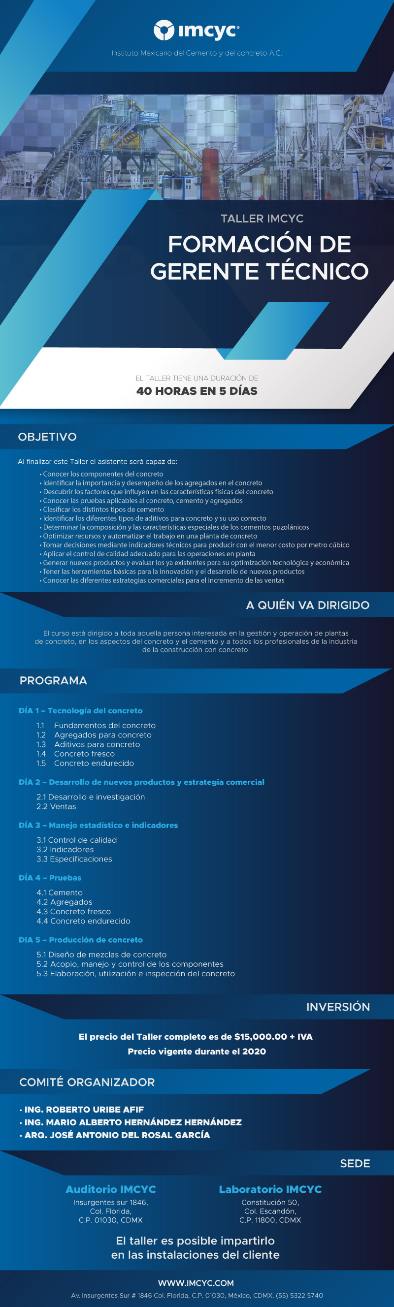 El Instituto Mexicano del Cemento y del Concreto en la FORMACIÓN DE GERENTE TÉCNICO